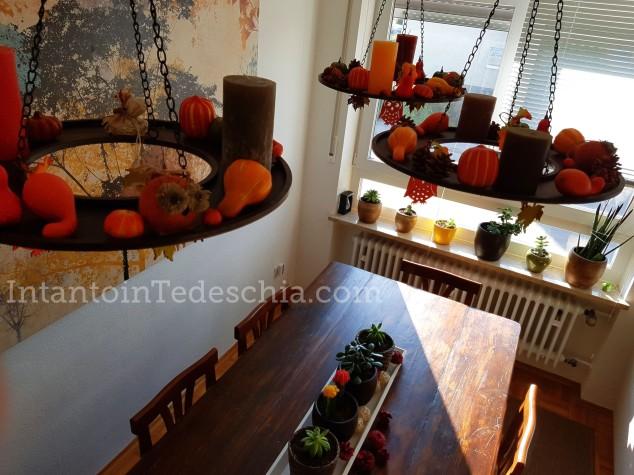 tavolo legno decorazioni autunno